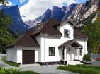 Одноэтажный жилой дом с подвалом, мансардой, гаражом, террасой